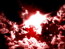 Red Scary clouds on black and white cloud. royalty free stock images