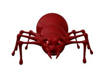Red scary spider isolated on white 3D illustration. royalty free illustration
