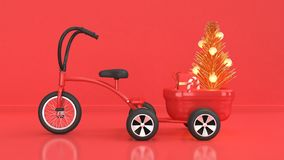 Red scene of christmas background new year holiday concept with kid tricycle-bike trailer load abstract christmas tree gift box re stock illustration