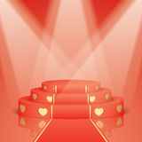 Red scene with golden hearts and carpet. Royalty Free Stock Image