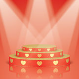 Red scene with golden hearts and lighting. Royalty Free Stock Image