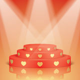 Red scene with golden hearts and lighting. Royalty Free Stock Photos