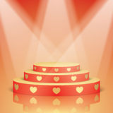 Red scene with golden hearts and lighting. Stock Images