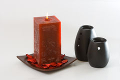 Red Scented Candle Stock Photo