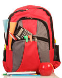 Red school backpack with apple Stock Images