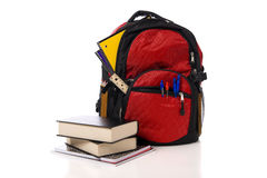 Red School Backpack with Books Royalty Free Stock Image