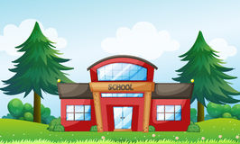 A red school building Stock Photo