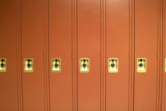 Red School Lockers Stock Photos