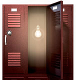 Red School Lockers With Light Bulb Inside Front Royalty Free Stock Photo