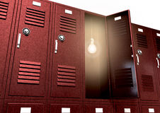Red School Lockers With Light Bulb Inside Perspective Royalty Free Stock Photography