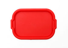 Red School Lunch Serving Tray / Plate. Isolated on white background Stock Photography