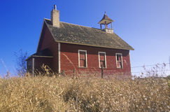 Red schoolhouse. On prairie, Battle Lake, MN Royalty Free Stock Photo