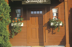 Red schoolhouse entry, New England Stock Image