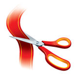 Red Scissors Cutting Red Tape Stock Photos