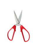 Red scissors isolated on a white background is cutting action. To cut paper Stock Photos