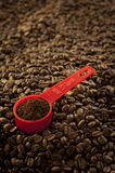 Red scoop and coffee beans. Ground coffee in a red scoop on coffee beans Royalty Free Stock Images