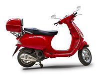 Red scooter. In white Stock Photography