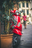 Red scooter in Italy Stock Images