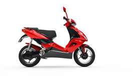 Red Scooter - Left Side Stock Image