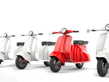 Red scooter stands out. Isolated on white background Stock Photos