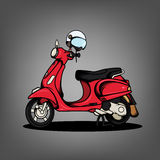 Red Scooter and White Helmet Royalty Free Stock Photo