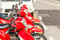 Red scooters parked in rows. Stock Image