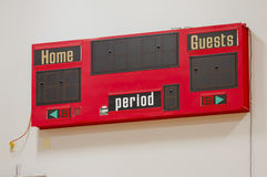 Red Score Board on a wall. A red score board on a wall ready for a basketball game in a high school gym.  Featues Home and Away sections Stock Photo