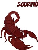 Red scorpion symbol isolated on white Royalty Free Stock Photo
