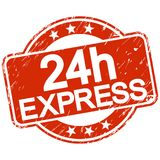 Red scratched stamp 24h express. Red round stamp with scratches and text 24h express Stock Photos