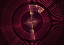 Red screen. Detail view of sonar screen in fractal form stock illustration