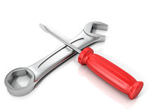 Red screwdriver and wrench spanner on white background Stock Photo