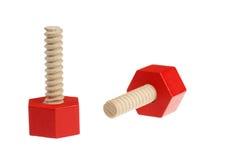 Red screws toys Stock Photos