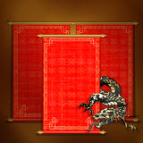 Red scroll with Asian dragon. Vector traditional Asian red scroll with Chinese dragon on a gold background. The scrolls are made by individual elements, and each Stock Image