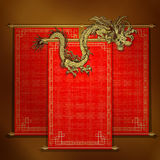 Red scroll with chinese dragon golden. Vector traditional Asian red scroll with Chinese dragon on a gold background. The scrolls are made by individual elements Stock Photo