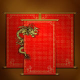 Red scroll with chinese dragon. Vector traditional Asian red scroll with Chinese dragon on a gold background. The scrolls are made by individual elements, and Stock Image