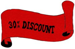 Red scroll paper with 30 PERCENT DISCOUNT text. Illustration concept Royalty Free Stock Image