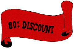 Red scroll paper with 80 PERCENT DISCOUNT text. Illustration concept Royalty Free Stock Image