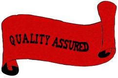 Red scroll paper with QUALITY ASSURED text. Illustration concept Royalty Free Stock Photos