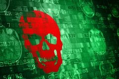 Red Scull on green MRI Digital Abstract technology background vector illustration