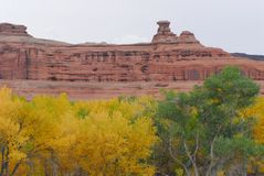 Utah- Autumn Panoramic Landscape of Red Hoodoos and Cliffs stock images