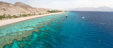 Red sea. Panorama coastline of Red sea from coral reef.Eilat.Israel Stock Photos
