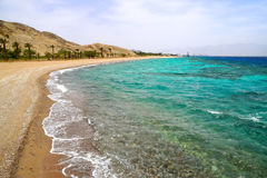 Red Sea. Sandy beach of the Red Sea in Israel Royalty Free Stock Image