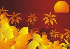 The red sea. Yellow flowers and palm trees against the red sea and a sunset Royalty Free Stock Photo