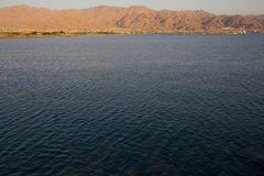 Red Sea with Aqaba Jordan. In background stock image