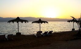 Red Sea Beach. Sunset at a beach in the red sea, in Egypt Royalty Free Stock Photography