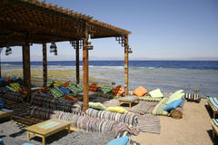 Red sea beach restaurant Stock Image
