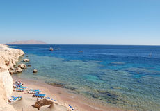 Red Sea beach, Sharm el Sheikh, Egypt. Red Sea coast at hotel, Sharm el Sheikh, Egypt Stock Photo