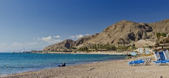 Red Sea and beaches near Eilat, Israel Royalty Free Stock Image