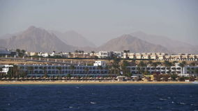Red Sea coast with beaches and hotels. Boat Trip Sinai Peninsula, Egypt stock video