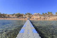 Red sea, coral and plastic pontoon Stock Image